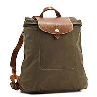 Longchamp Le Pliage Tierra/Brown Leather/Nylon Foldable Backpack