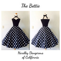 Black Bettie POLKADOT Cross Front Multi-Way Halter Dress, Rockabilly Bridesmaid, Pin Up Special Occasion Party Dress