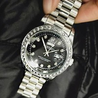 Rolex New Fashion Couple Diamond Watch Stainless Steel Wristwatch Silver