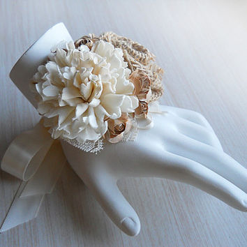 Rustic Burlap & Sola Flower Wrist Corsage handmade for Rustic, Country, Woodland Style Weddings. Made to Order.