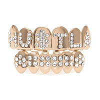 Real Plated Rose Gold Shiny Letter Cz Rhinestone Hip Hop Teeth For Mouth Grillz Caps Top & Bottom Grill Set Vampire Teeth Gift