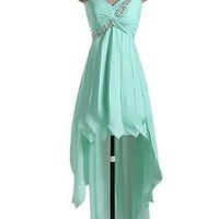 Sunvary High Low One Shoulder Applique Chiffon Cocktail Evening Dress Sweety 16 Pageant Homecoming Prom Gowns Junior Bridesmaid - US Size 2- Mint