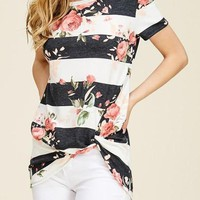 Side Knot Floral Tunic