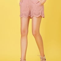 LE3NO Womens Scallop Hem Floral Summer Shorts with Lace Up Back