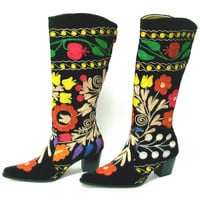 Suzani Hand Embroidered Cowboy Style Boot
