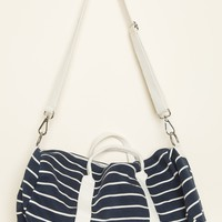 Navy and Cream Duffle Bag - Bags & Backpacks - Accessories