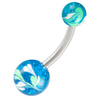 Glitter Ball End Belly Button Ring For Girls [Gauge: 14G - 1.6mm / Length: 12mm] 316L Surgical Steel & Acrylic (Blue) (BHPG31)