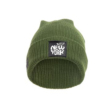 New York Green/Black Beanie Glows in the Dark