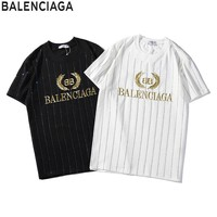 BALENCIAGA Golden Embroidered Summer Classic Round Collar T-Shirt Top Tee