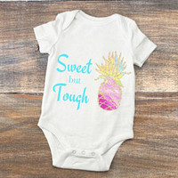 Baby Girl Bodysuit - Coming Home Outfit for Newborns - Baby Shower Present - Sweet but Tough Watercolor Pineapple Bodysuit