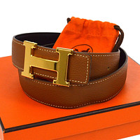 Auth HERMES Vintage H Logos Buckle Constance Reversible Belt Leather #75 RK11761
