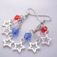 Star Charm Cluster Earrings Red White and Blue