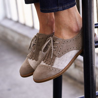 DESERT TAUPE SUEDE AND WOOL WITH KILTIE WOMEN'S BROGUES