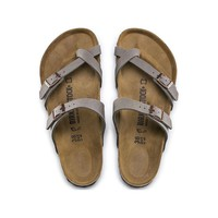Hot Sale Mayari Birkibuc Birkenstock Summer Fashion Leather Beach Lovers Slippers Casual Sandals For Women Men Couples Slippers color Stone size 36-45