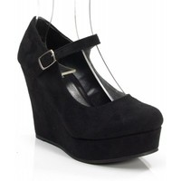 New Soda Romie-S Faux Suede Closed Almond Toe Mary Jane Platform Wedge BLACK