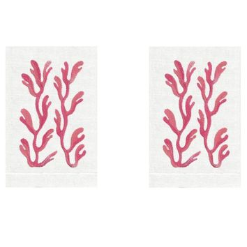 Coral Kohola Linen Guest Towels (Set of 2) by Anali