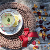 Tablemat/ Crochet Placemat/ Crohet Table Napkin/ Handmade Tablemat/ Rope Table Napkin /Table Dekor/ Ideas for Gifts/ Crochet Coasters/Cupmat
