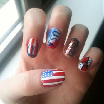 4th of July Blue White And Red Nail Art - False, Fake, Acrylic, Artificial, Hand Painted Press On Nail Set