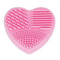 Portable Clean Brush Cosmetic Cleaning Tool Silicone Heart Shaped Makeup Brush Cleaner Wash Cleaning Tools Glove Scrubber