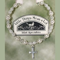 Pearl, Crystal & Sterling Silver Beaded Bracelet with a Cross Charm    Newborn Baby - Little Girl 5 years