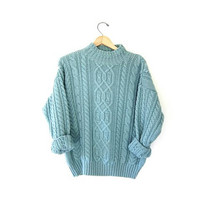 Vintage thick wool blend sweater. Fishermans sweater. Chunky knit pullover. Soft teal green knit sweater.