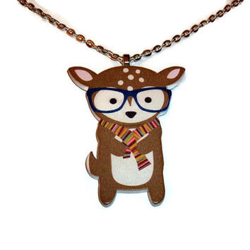 Cute Hipster Deer Necklace, Kitsch Wooden Pendant, Glasses and Scarf, Woodland Animal Jewelry