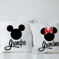 Grandpa And Grandma Couples Square Pillow Covers Pillow Case Gift Couples Case