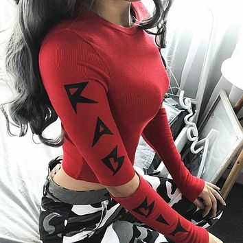 Winter Long Sleeve Patchwork Hollow Out Alphabet Sexy Crop Top Ladies Tops T-shirts [73856286735]