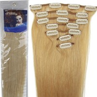 18'' 7pcs Remy Clips in Human Hair Extensions 27 Dark Blonde 70g for Women's Beauty Hairsalon in Fa