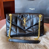 YSL New Quilted Pleated Leather Shoulder Bag Chain Bag