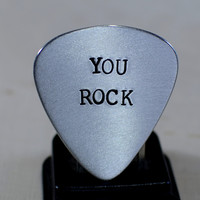 Aluminum Guitar Pick with You Rock