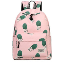 Creative Women's Canvas Cactus Backpack Travel Bag College School Bag Daypack Pink