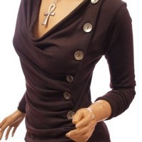 Amazon.com: Patty Women Cowl Neck Button Embellished Ruched Blouse Top: Clothing