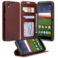 Alcatel Idol 4 Case, Idol 4 Wallet Case, Slim Flip Cover [Kickstand] Pu Leather Wallet Case with ID & Card Slots - Brown