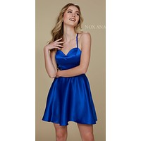 Short Criss-Cross Strap Back Cocktail Homecoming Dress Royal Blue