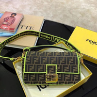 FENDI Fashion Dual F Fluorescent green stick bag