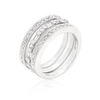 Simple Cubic Zirconia Ring Set, size : 06