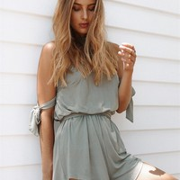 Olive Tie Playsuit - Playsuits by Sabo Skirt