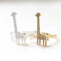 Baby Giraffe Ring / adjustable ring, choose your color , gold and silver