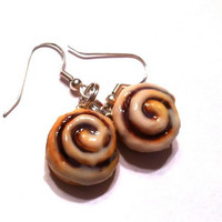 Cinnamon Roll Dangle Earrings, Polymer Clay Food Jewelry