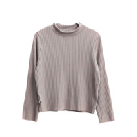 Ribbed Taupe High Neck Top