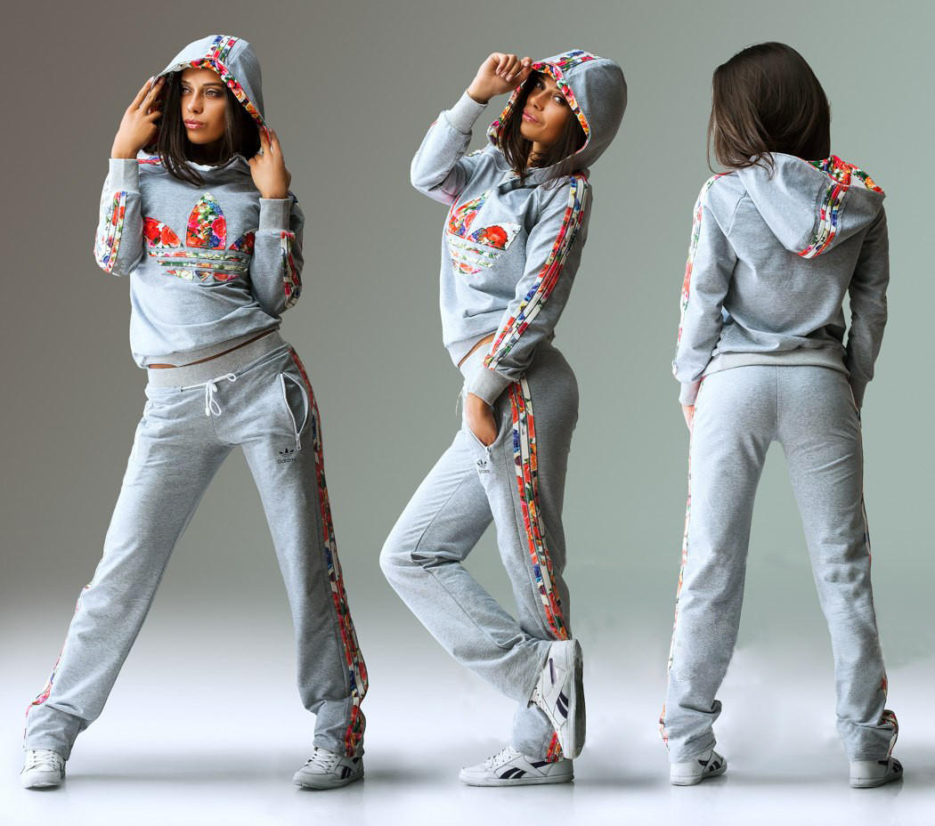 Image of Adidas Fashion Multicolor Print Sport Pullover Pants Set Two-Piece Sportswear