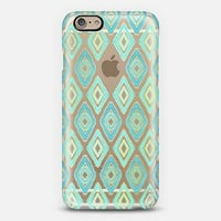 Turquoise Tribal Diamonds on Transparent iPhone 6 case by Micklyn Le Feuvre | Casetify