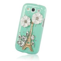 Amazon.com: New Handmade 3D Eiffel Tower Diamond Rhinestone with Two Flower Case Hard Cover Cyan for Samsung Galaxy S3 III I9300: Cell Phones & Accessories