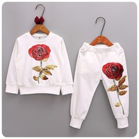 Retail sequin flower girls clothing set children and sports costumes kids hip hop clothing 2pcs IN STOCK