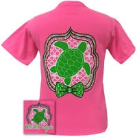 Girlie Girl Originals Preppy Turtle 2 Anchor Bow Neon Pink Comfort Colors T Shirt