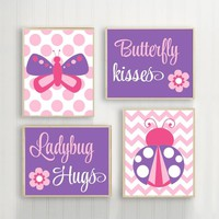 Butterfly Lady Bug Wall Art CANVAS or Print Butterfly Kiss Baby Girl Nursery Ladybug Hugs Girl Bedroom Pictures Pink Purple Decor Set of 4
