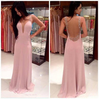 Long Pink Bridesmaid Shiny beaded Prom Gown Evening Formal Party Cocktail Prom Dress