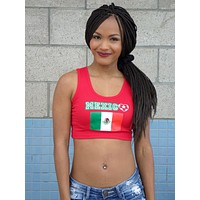 Mexico Red Ribbed Crop Top / Made in USA