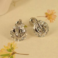 Anchor and Bright CZ Earrings 06 silver